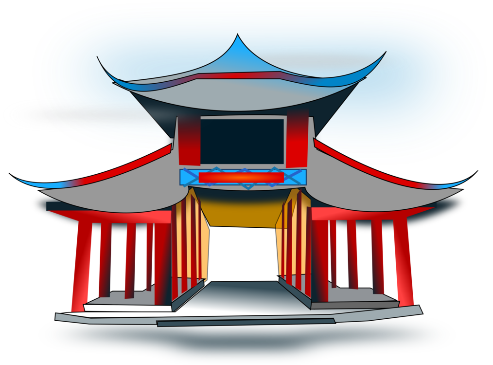 Chinese Architecture,Temple,Chinese Pagoda Vector Clipart.