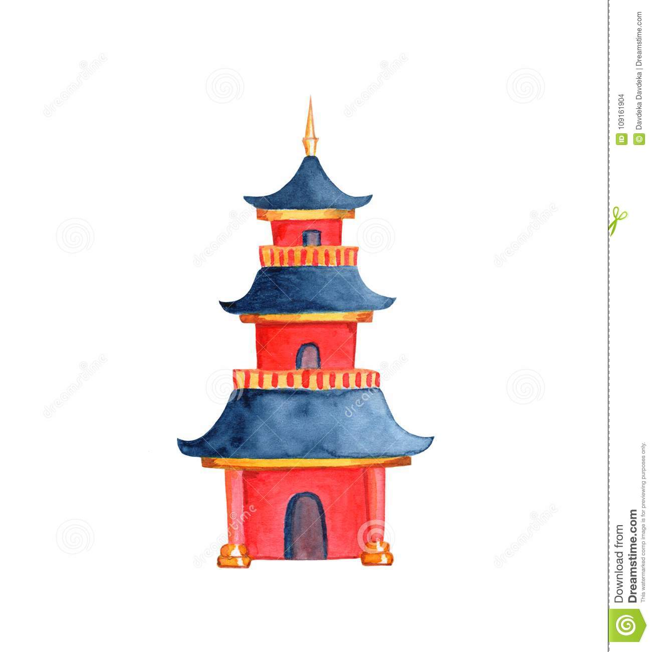 Chinese Pagoda On White Background. Taoist Or Buddhist Temple.