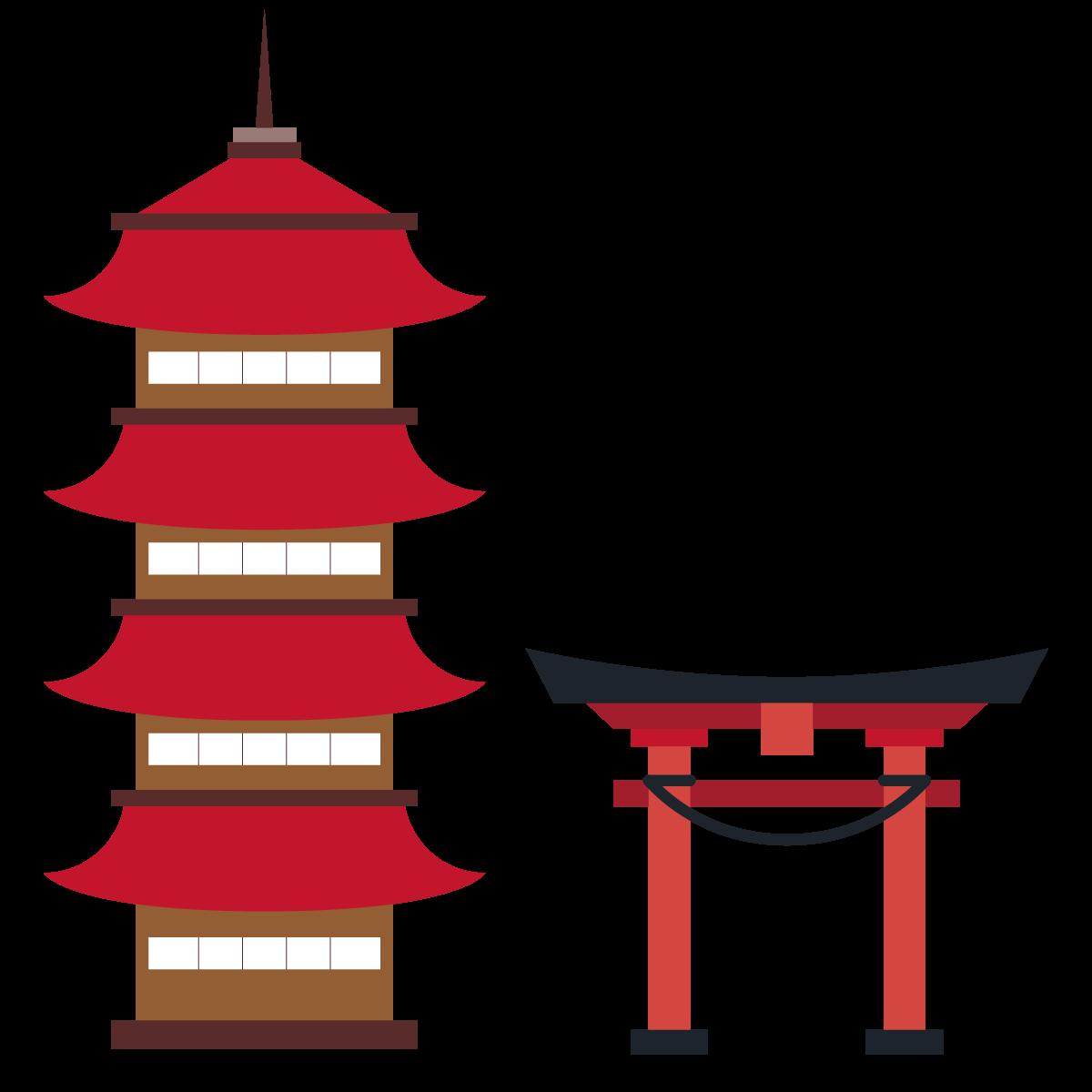 Chinese Pagoda Drawing.