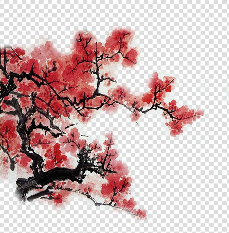 China Chinese painting Art, Ink Plum transparent background.