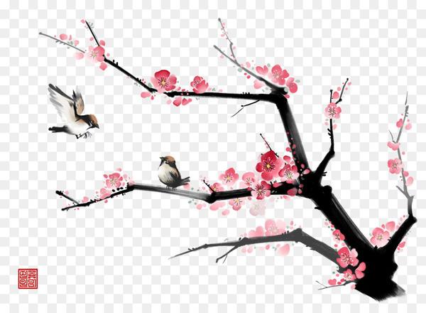 Ink wash painting Gongbi Bird.