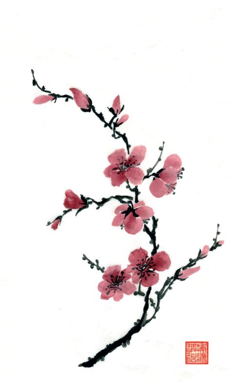 Learn Chinese Brush Painting Techniques with Pauline Cherrett. Plum.
