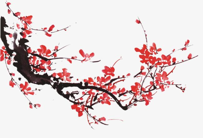 Ink Plum, Plum Flower, Ink, Chinese Painting PNG Transparent Image.