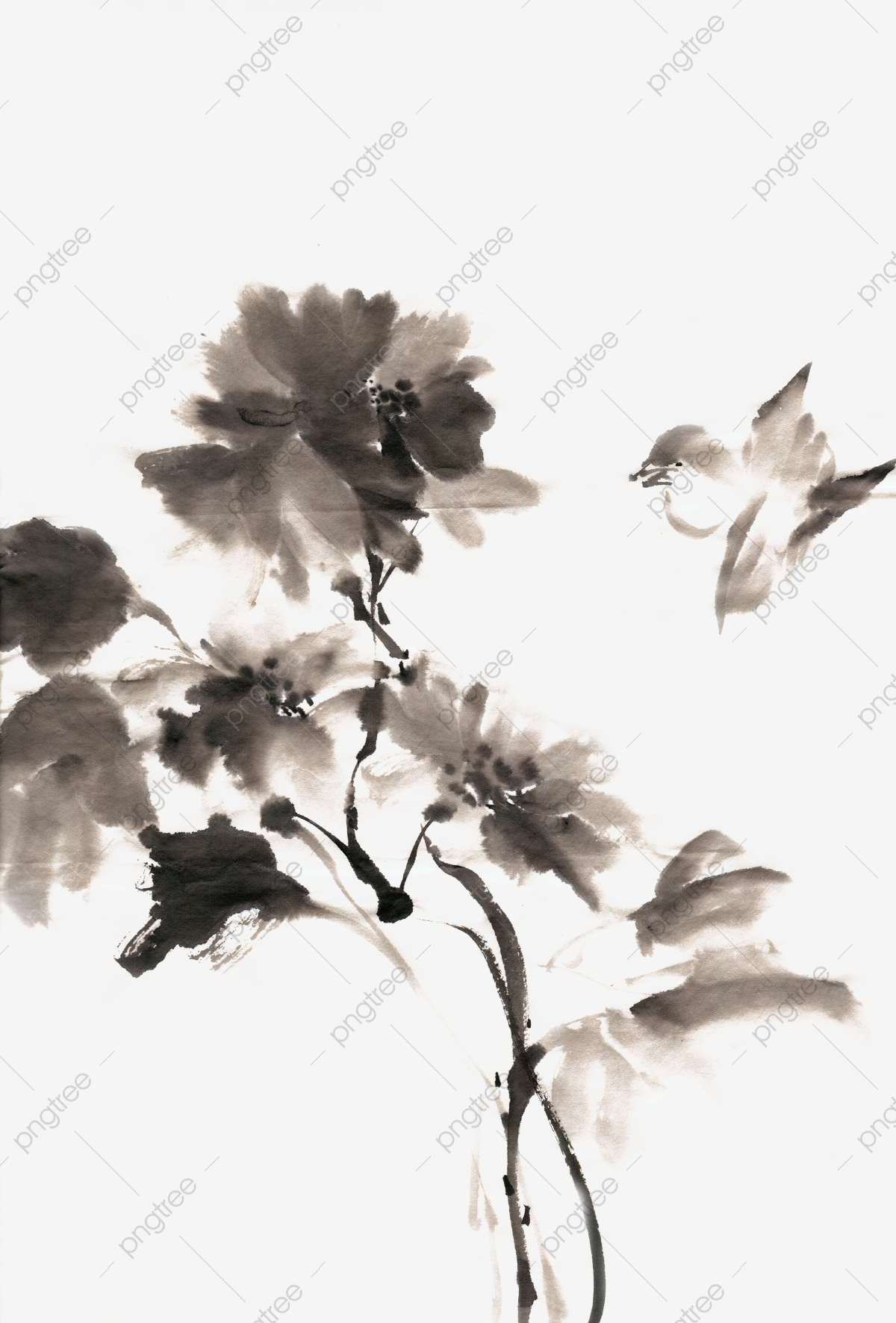 Ink Traditional Chinese Painting Hand Painted Flower And Bird.