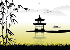 Chinese Painting Landscape Stock Illustration.