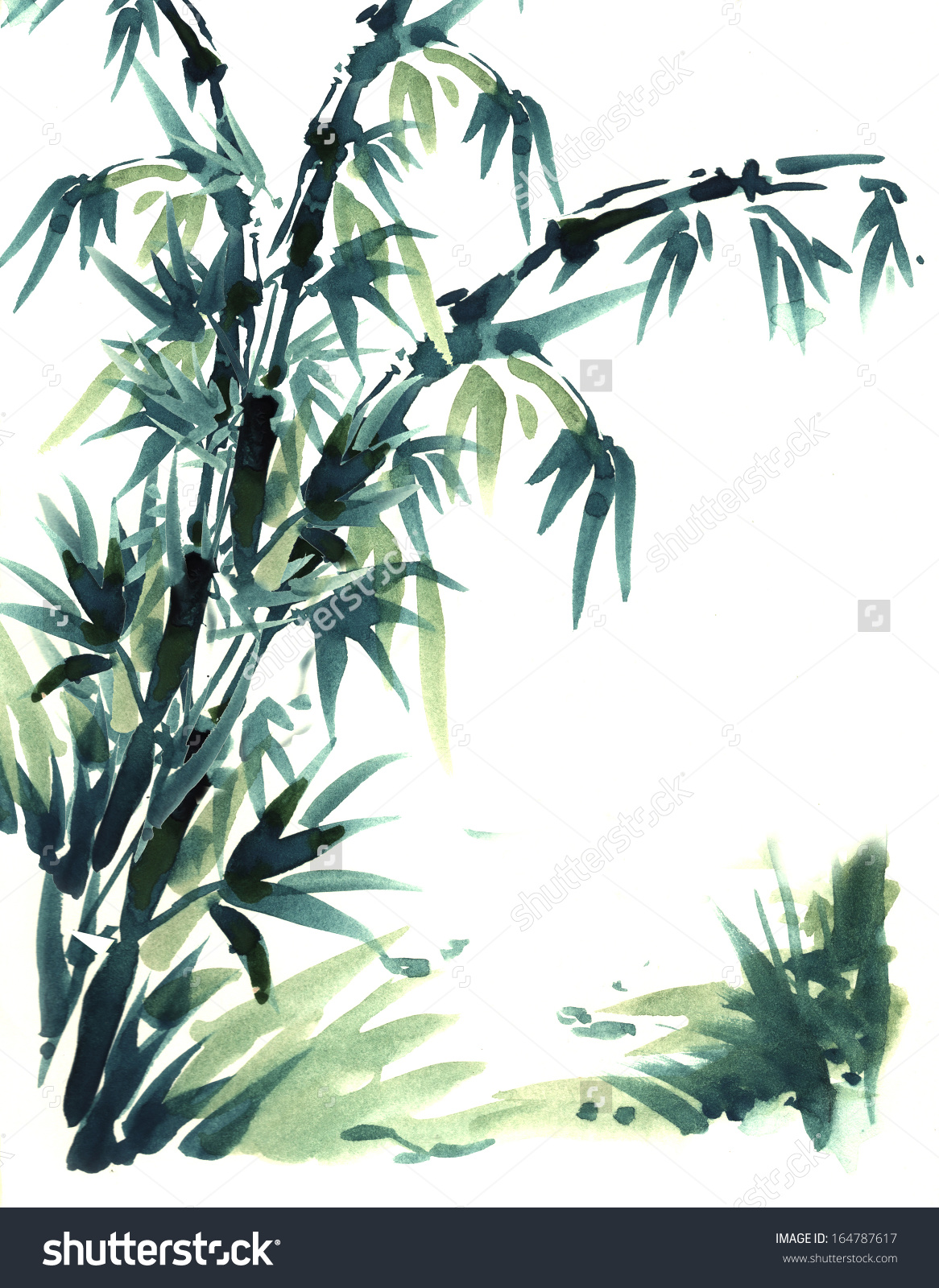 Chinese Brush Painting Bamboo Water Color Stock Illustration.