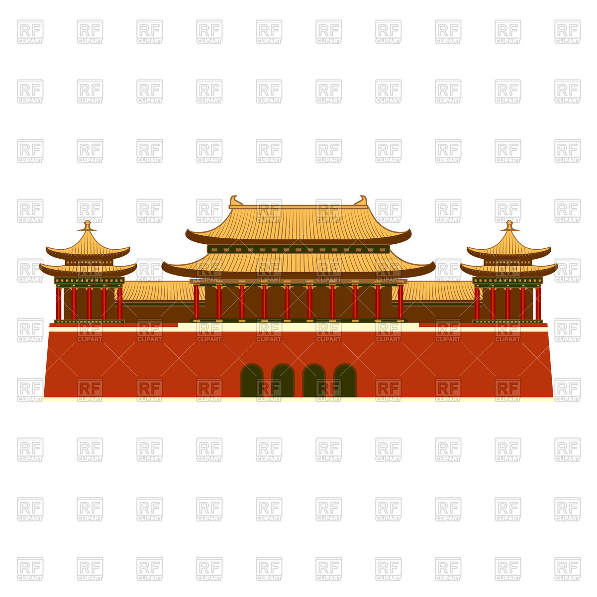 Palace with east asian roof decoration Stock Vector Image.