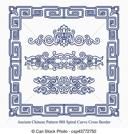 Ancient Chinese Pattern of Spiral Curve Cross Border.
