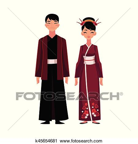 Chinese people in national costumes, dress and robe with jacket Clipart.