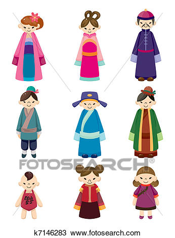 Cartoon Chinese people icon set Clipart.