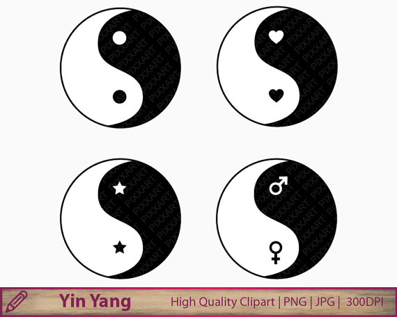 Yin yang clipart chinese philosophy clip art by PiXXartPictures.