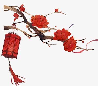 Chinese Style Joyous Red Lantern Safflower, Chinese Style, Joyous.