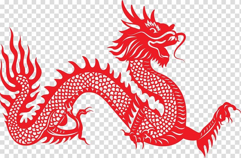 Red dragon illustration, Chinese dragon Papercutting Illustration.
