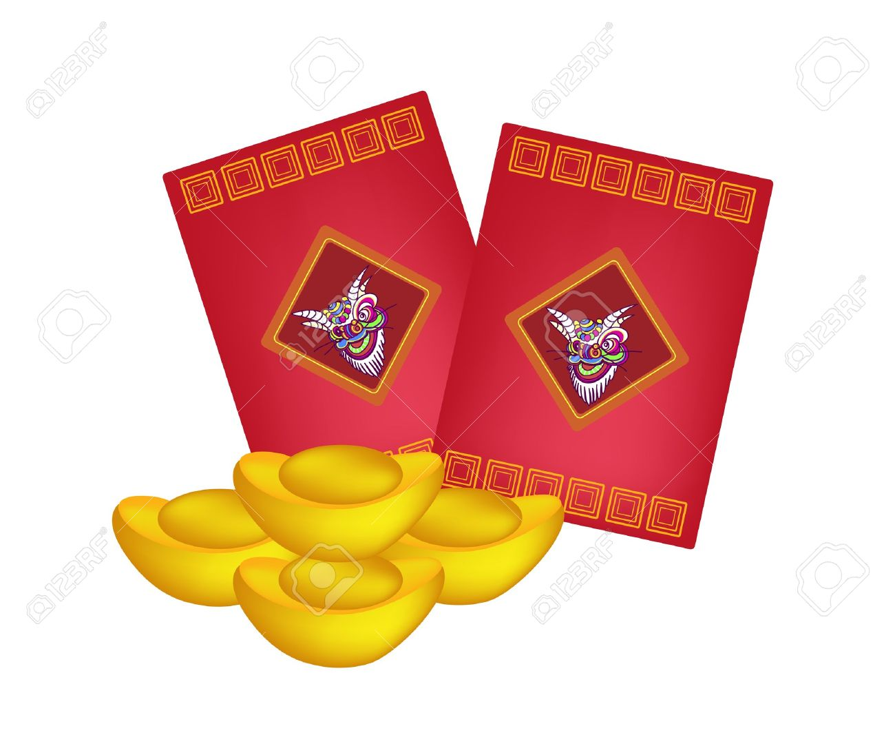 Traditional Chinese, Illustration of Chinese Ang Pao or Red Envelope...
