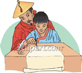 Chinese Man Teaching His Son to Write Clip Art.