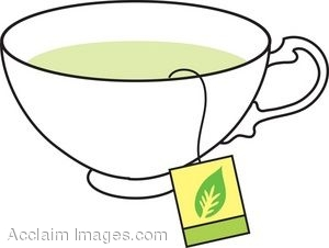 Clipart Picture of a China Cup with a Green Tea Bag Steeping.