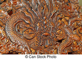Stock Photography of dragon, Redwood carving works of Chinese.