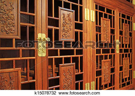 Stock Photo of redwood furniture, traditional Chinese art style.