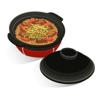 Claypot rice with chinese sausage Vector Image.