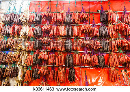 Stock Photo of Chinese Sausages and Waxed Meat for Chinese New.