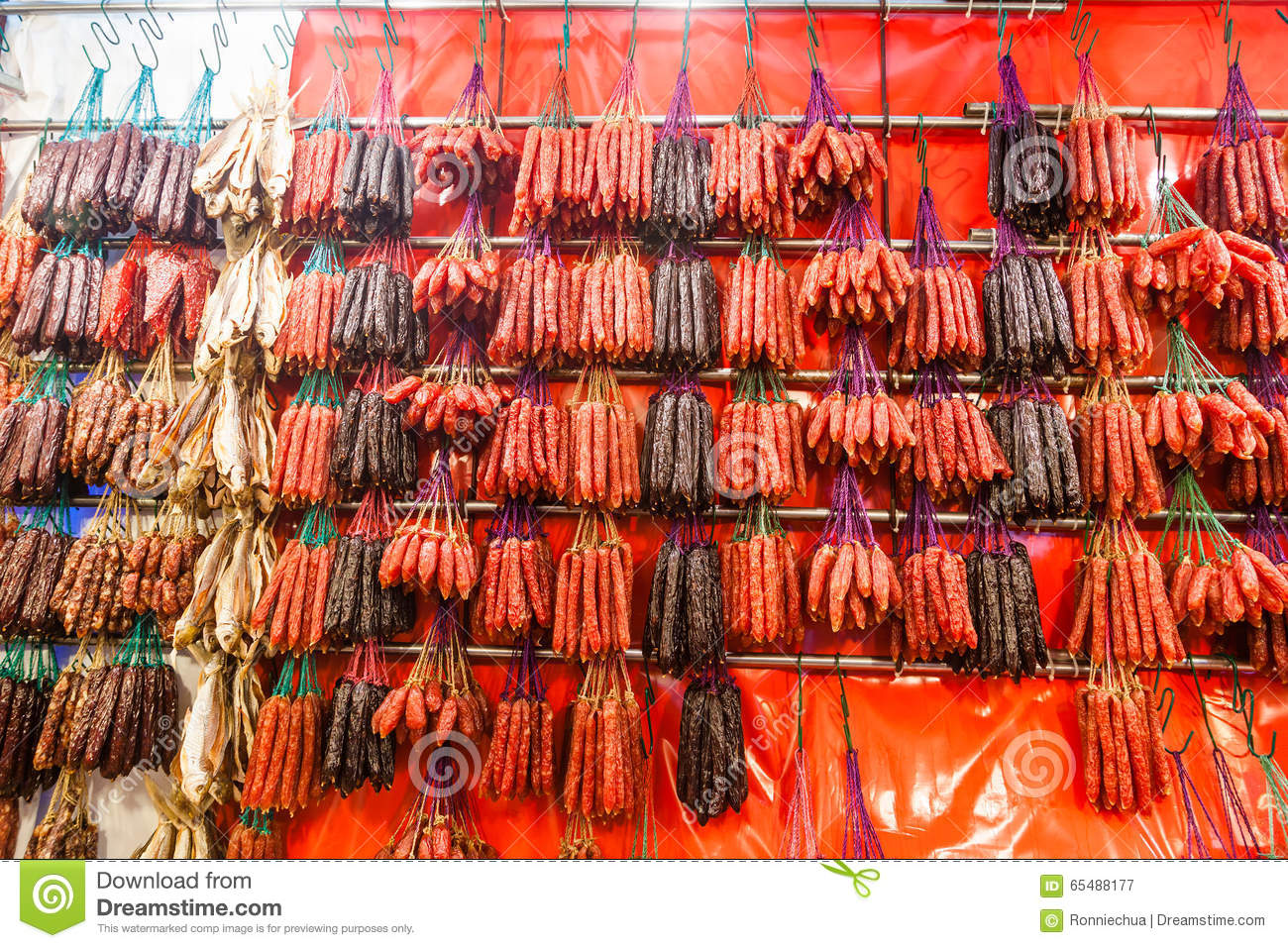 Chinese Sausages And Waxed Meat For Chinese New Year Stock Photo.