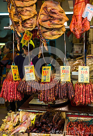 Hanging Chinese Sausage Stock Photos, Images, & Pictures.