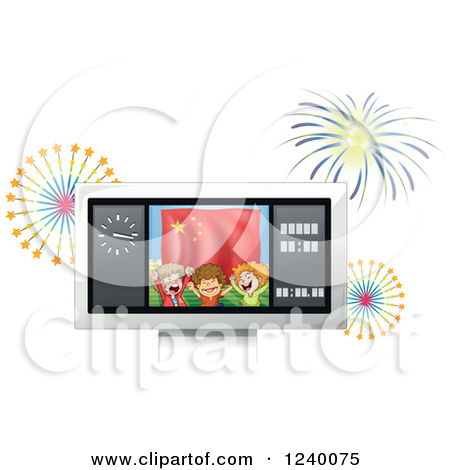 Cartoon of Boy Sports Fans on a Score Board Screen with Fireworks.