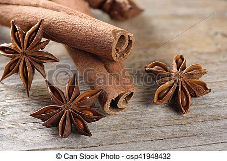 Stock Photos of cassia sticks (Cinnamomum Chinese) and Star Anise.