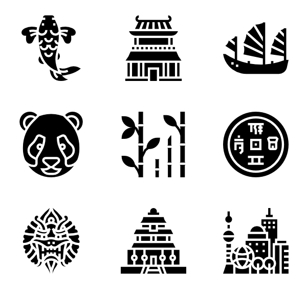 10 chinese symbol icon packs.