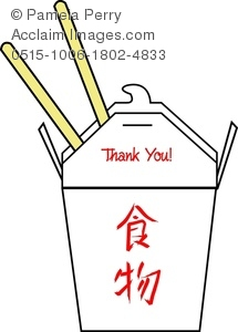 Clip Art Image of a Chinese Food Take Out Carton and Chopsticks.