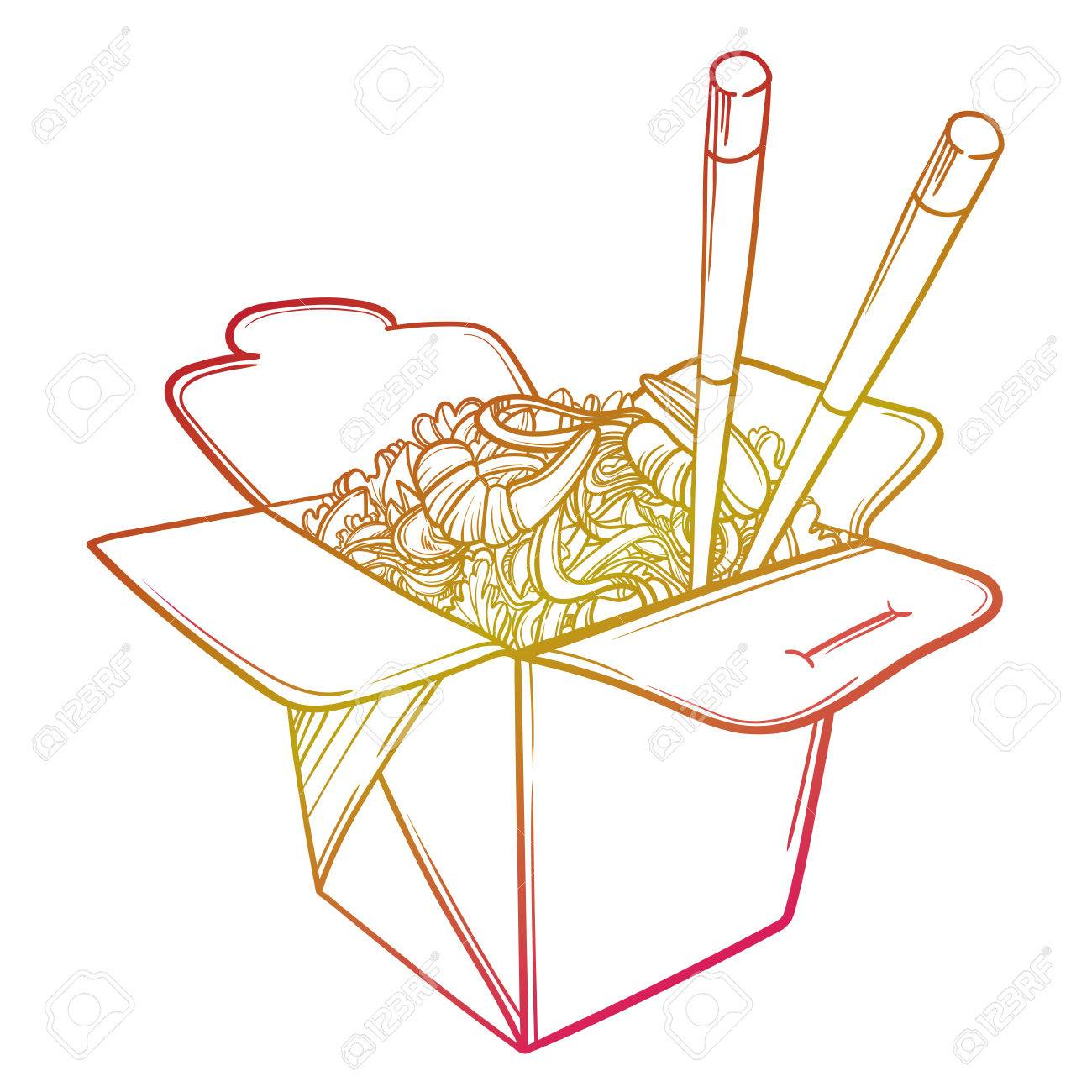 Vector illustration of a Chinese restaurant opened to take out...