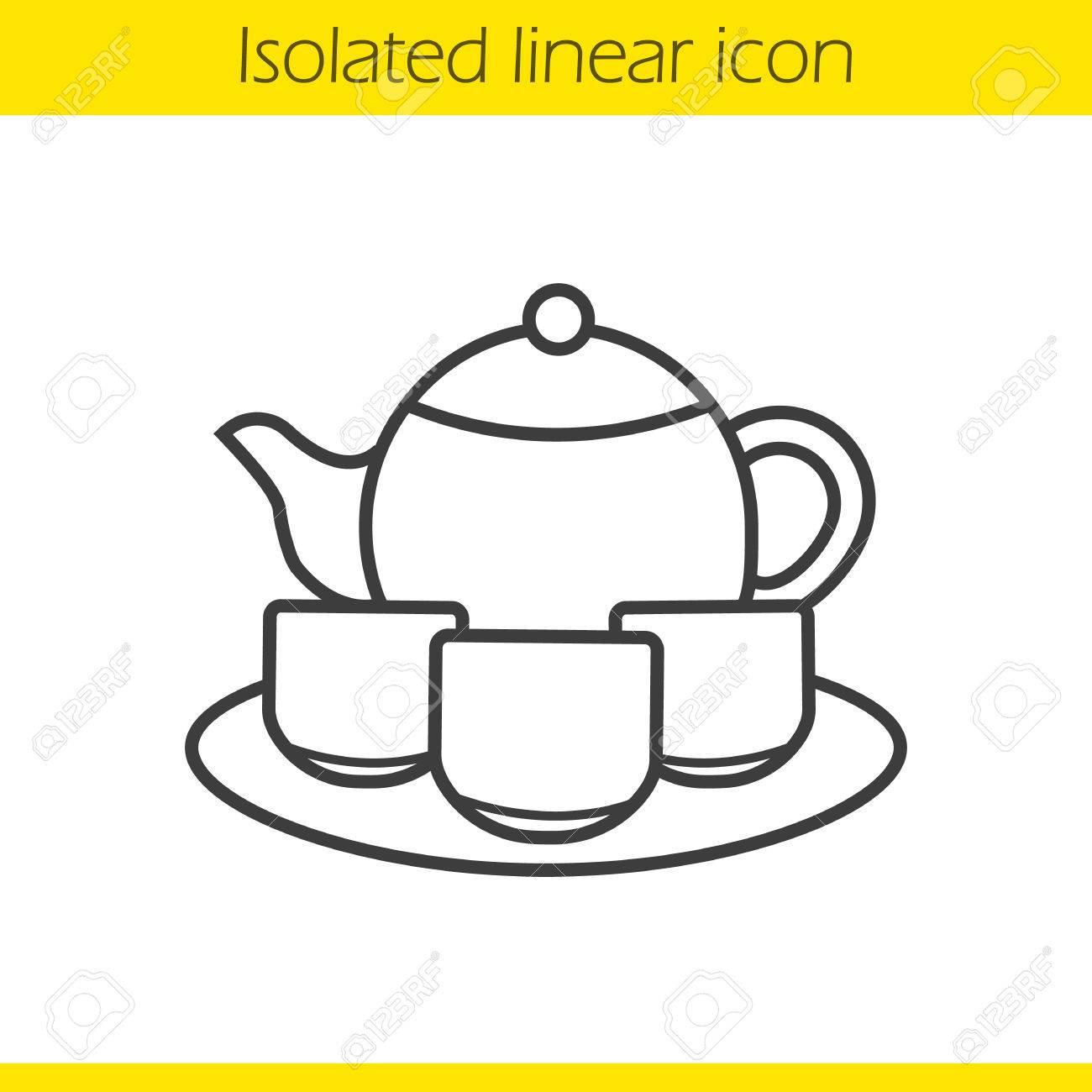 Chinese tea ceremony set linear icon. Thin line illustration.