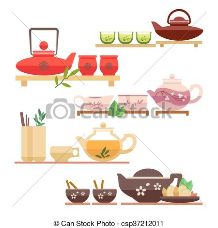 Chinese tea ceremony flat vector icons.