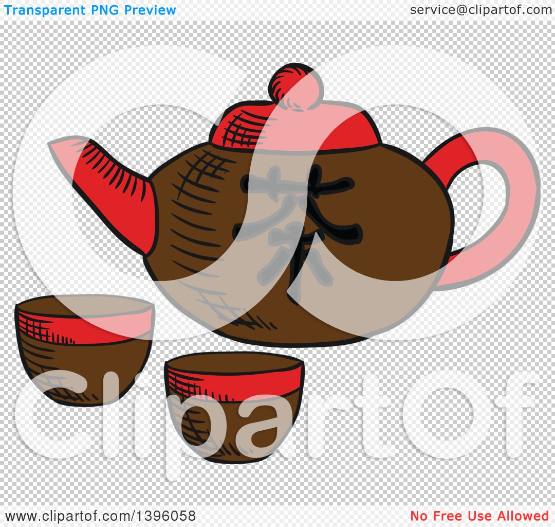 Clipart of a Sketched Chinese Tea Pot and Cups.