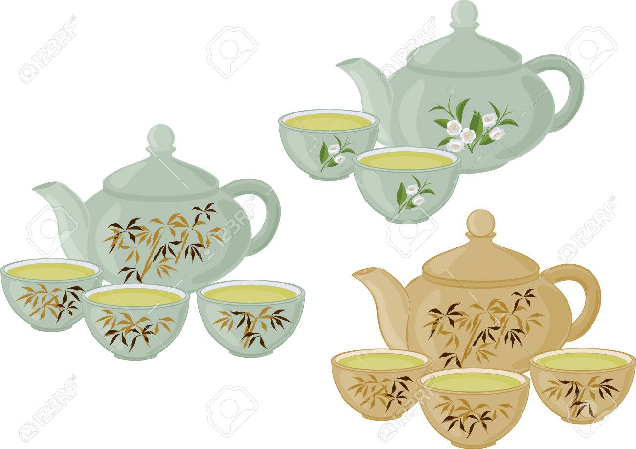 The teapot and small cups of Chinese green tea. Set of isolated...