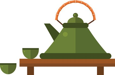 Chinese Tea Vector Traditional Eastern Teapot and Teacups ON premium.