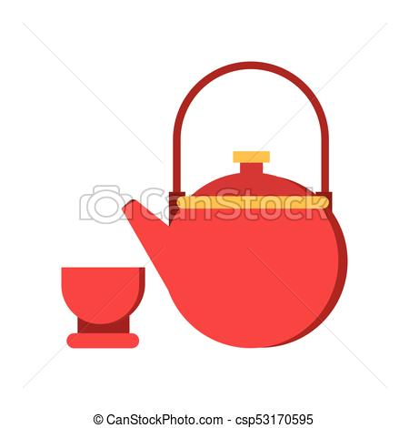 Icon of red teapot and cup. Tableware for traditional chinese tea ceremony.  Asian culture concept. Isolated flat vector illustration.
