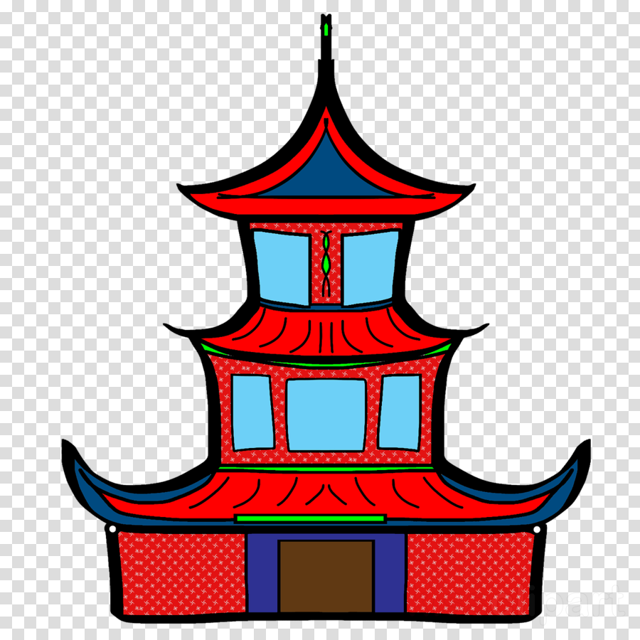 Klenteng Animasi Clipart Chinese Temple Architecture.