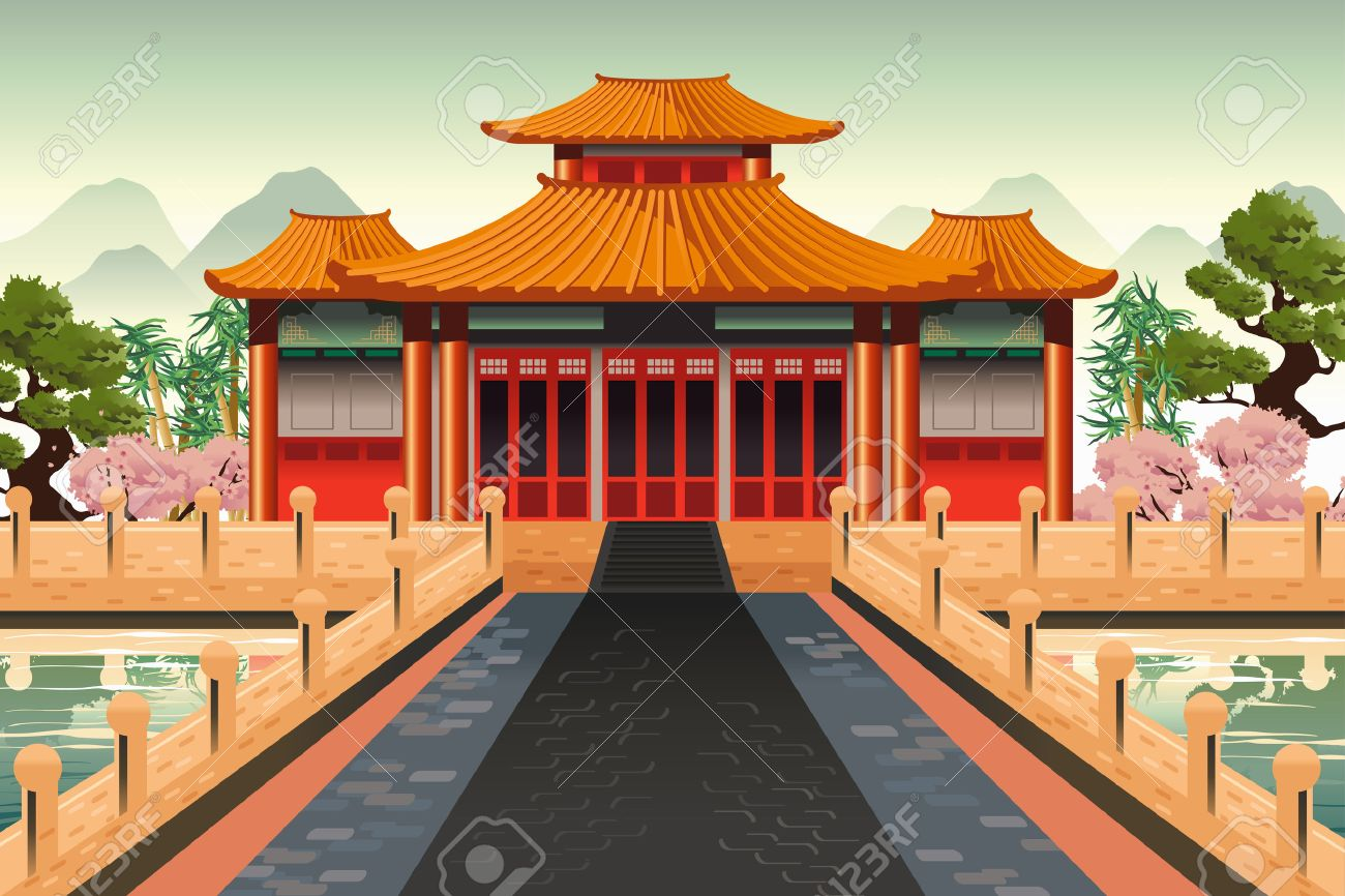 A vector illustration of Chinese temple background.