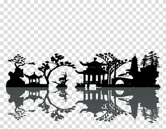 Tree and building drawing illustration, China Silhouette.