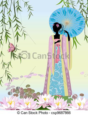 Vector Clipart of Chinese woman with an umbrella in traditional.