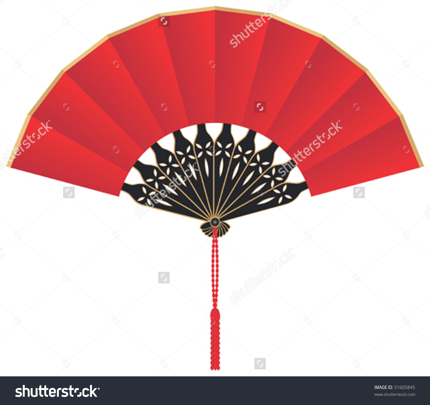 Red Silk Chinese Fan Vector Stock Vector 51605845.