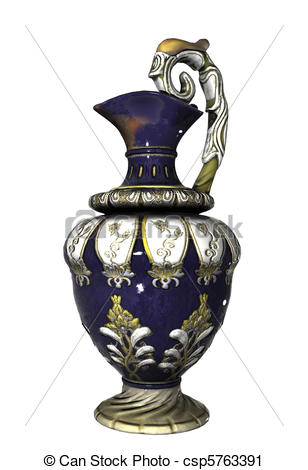 Clipart of Blue Chinese vase with floral pattern.