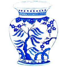 Ming Vase in Indigo Blue NEW print.