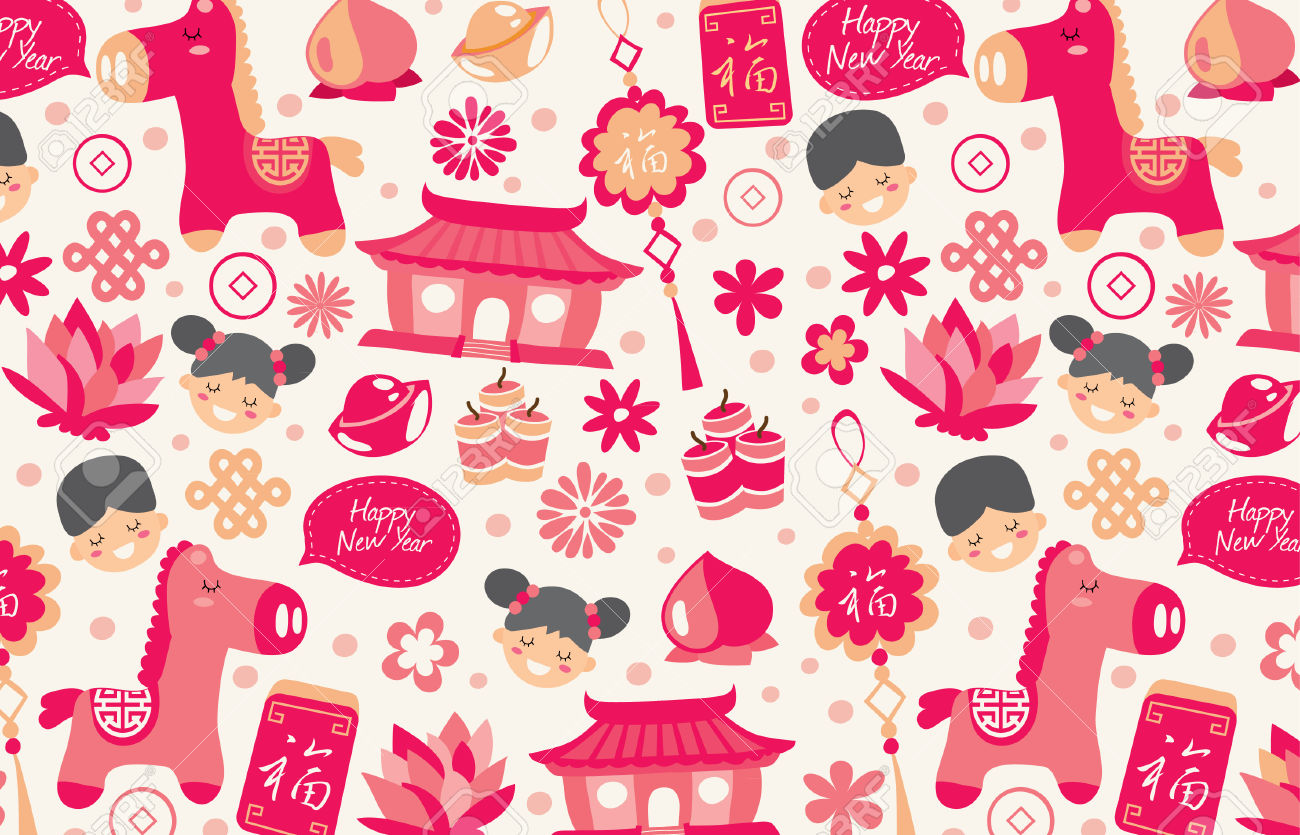 Chinese New Year Wallpaper In Red Royalty Free Cliparts, Vectors.