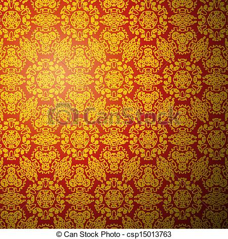 Clip Art Vector of Chinese pattern background. Seamless wallpaper.