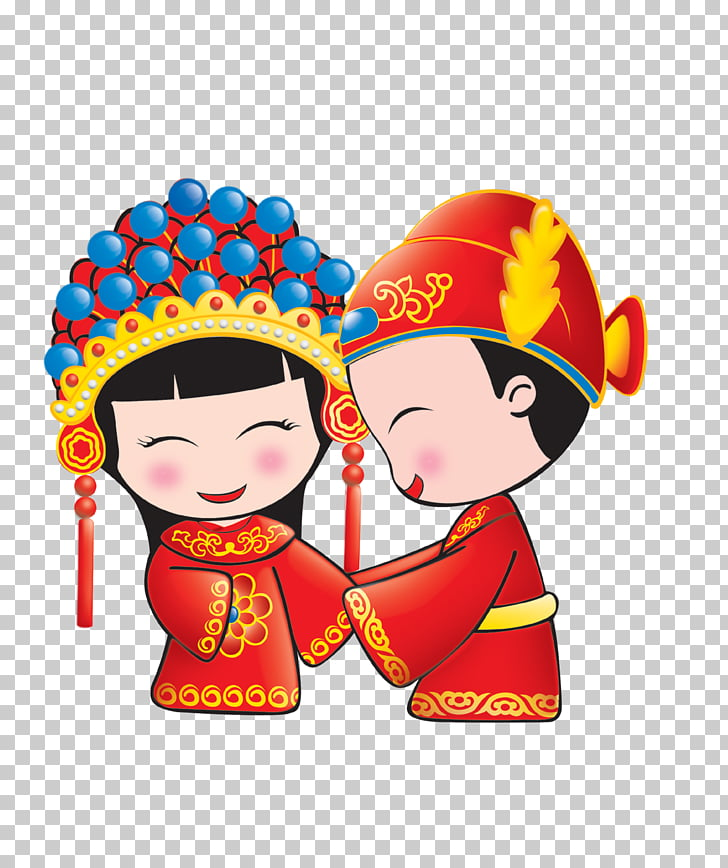 Wedding invitation Chinese marriage Bridegroom, Cartoon.