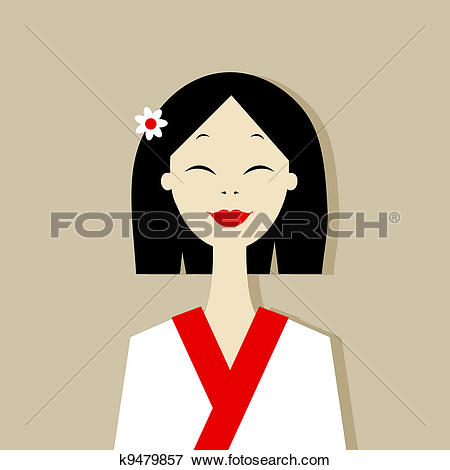 Stock Illustration of Young Girl in Traditional Chinese Dress.