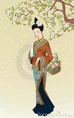 Beautiful chinese woman clipart.