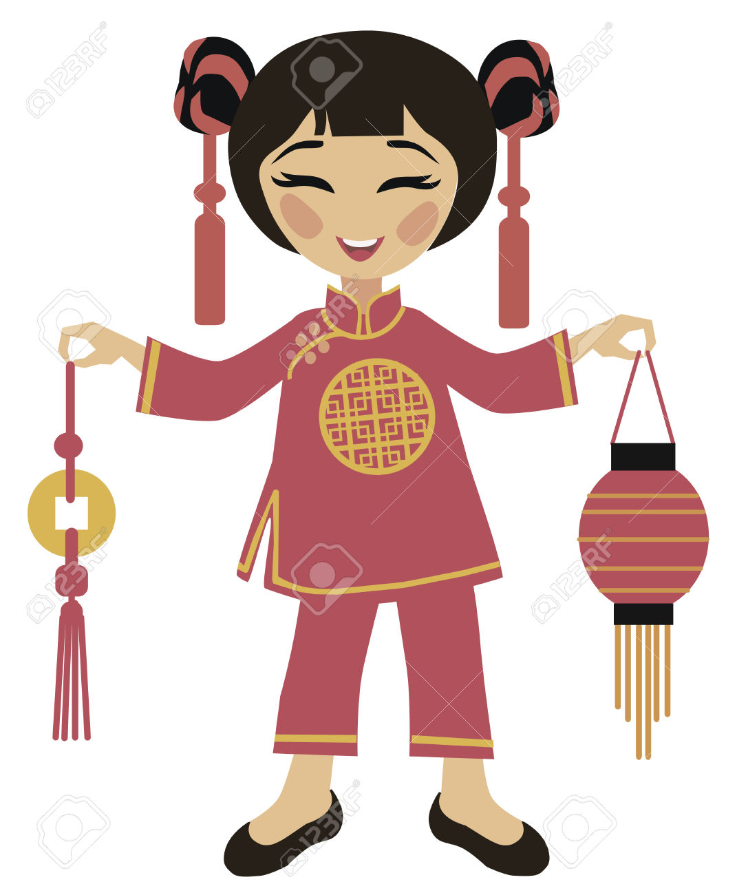 Chinese girl dress clipart.